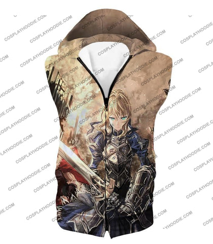 Image of Fate Stay Night Saber Altria Pendragon Battlefield Action T-Shirt Fsn046 Hooded Tank Top / Us Xxs