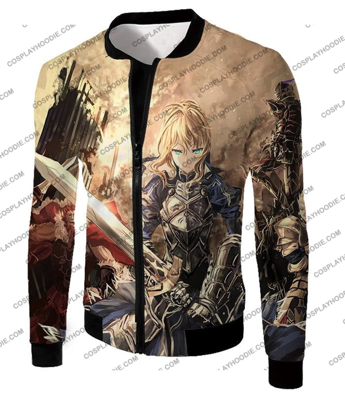 Fate Stay Night Saber Altria Pendragon Battlefield Action T-Shirt Fsn046 Jacket / Us Xxs (Asian Xs)