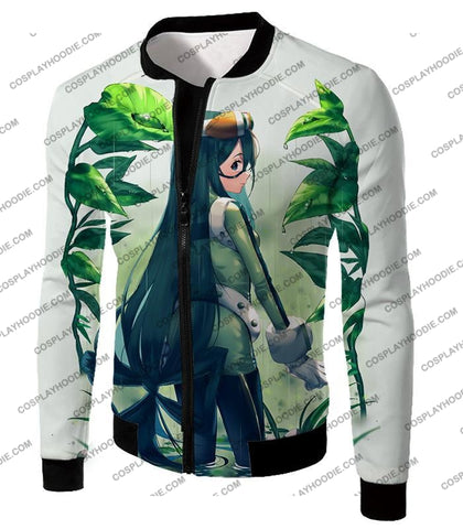 Image of My Hero Academia Super Cool Froppy Tsuyu Asui Awesome Anime White T-Shirt Mha096 Jacket / Us Xxs