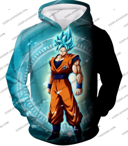 Image of Dragon Ball Super Ultimate Goku Saiyan Blue Promo Anime T-Shirt Dbs047 Hoodie / Us Xxs (Asian Xs)