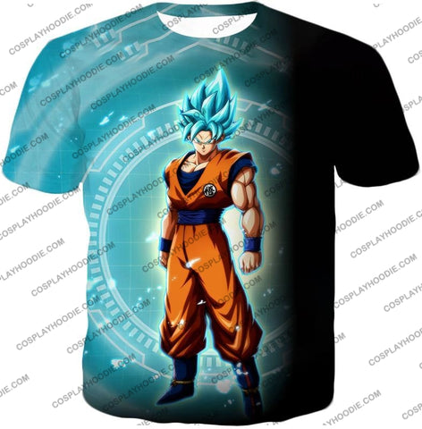 Image of Dragon Ball Super Ultimate Goku Saiyan Blue Promo Anime T-Shirt Dbs047 / Us Xxs (Asian Xs)