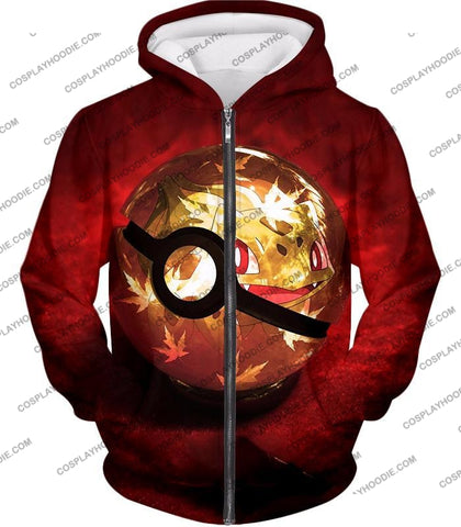 Image of Pokemon Amazing Grass Bulbasaur Pokeball Cool Red T-Shirt Pkm047 Zip Up Hoodie / Us Xxs (Asian Xs)
