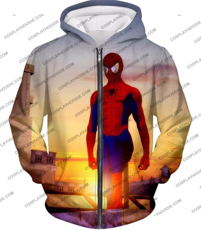 Superhero Spiderman From Dusk To Dawn Cool T-Shirt Sp047 Zip Up Hoodie / Us Xxs (Asian Xs)