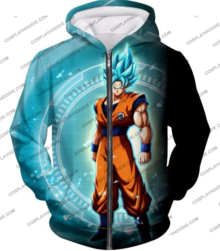 Dragon Ball Super Ultimate Goku Saiyan Blue Promo Anime T-Shirt Dbs047 Zip Up Hoodie / Us Xxs (Asian