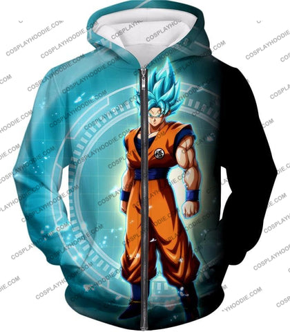 Image of Dragon Ball Super Ultimate Goku Saiyan Blue Promo Anime T-Shirt Dbs047 Zip Up Hoodie / Us Xxs (Asian