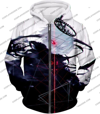 Image of Tokyo Ghoul Awesome One Eyed King Kaneki Cool Anime Action Promo T-Shirt Tg097 Zip Up Hoodie / Us