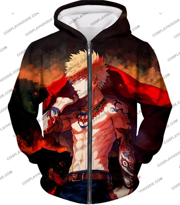 My Hero Academia Handsome Fan Made Bakugo Katsuki Cool Anime Promo T-Shirt Mha097 Zip Up Hoodie / Us