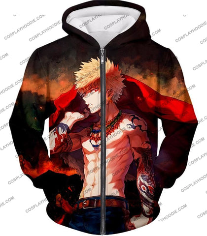 Image of My Hero Academia Handsome Fan Made Bakugo Katsuki Cool Anime Promo T-Shirt Mha097 Zip Up Hoodie / Us