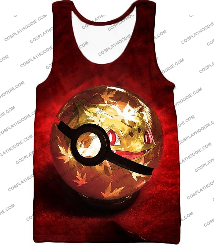 Pokemon Amazing Grass Bulbasaur Pokeball Cool Red T-Shirt Pkm047 Tank Top / Us Xxs (Asian Xs)