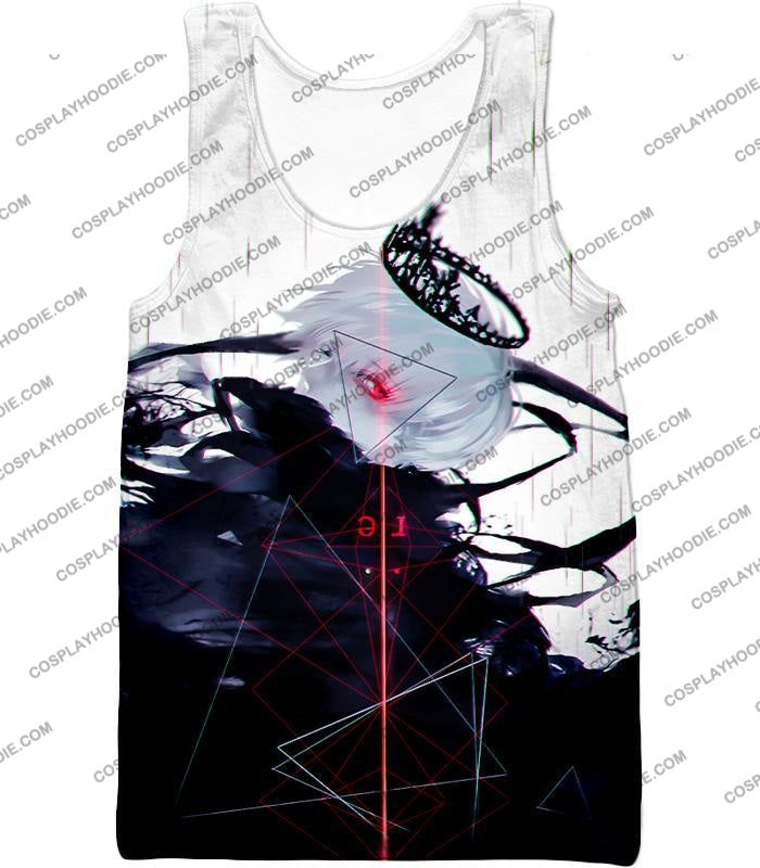 Tokyo Ghoul Awesome One Eyed King Kaneki Cool Anime Action Promo T-Shirt Tg097 Tank Top / Us Xxs