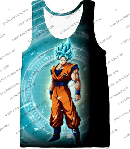 Image of Dragon Ball Super Ultimate Goku Saiyan Blue Promo Anime T-Shirt Dbs047 Tank Top / Us Xxs (Asian Xs)