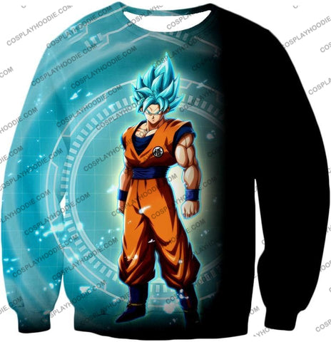 Image of Dragon Ball Super Ultimate Goku Saiyan Blue Promo Anime T-Shirt Dbs047 Sweatshirt / Us Xxs (Asian