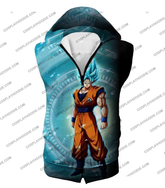 Dragon Ball Super Ultimate Goku Saiyan Blue Promo Anime T-Shirt Dbs047 Hooded Tank Top / Us Xxs