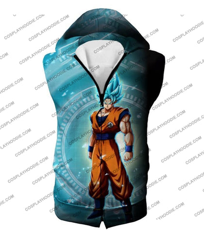 Image of Dragon Ball Super Ultimate Goku Saiyan Blue Promo Anime T-Shirt Dbs047 Hooded Tank Top / Us Xxs