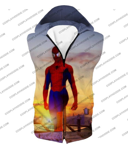 Image of Superhero Spiderman From Dusk To Dawn Cool T-Shirt Sp047 Hooded Tank Top / Us Xxs (Asian Xs)