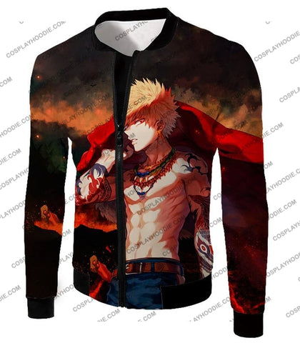 Image of My Hero Academia Handsome Fan Made Bakugo Katsuki Cool Anime Promo T-Shirt Mha097 Jacket / Us Xxs