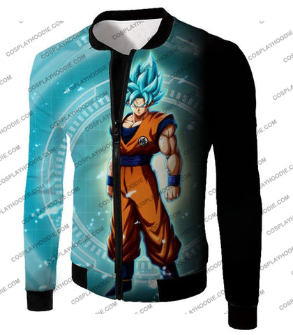 Image of Dragon Ball Super Ultimate Goku Saiyan Blue Promo Anime T-Shirt Dbs047 Jacket / Us Xxs (Asian Xs)