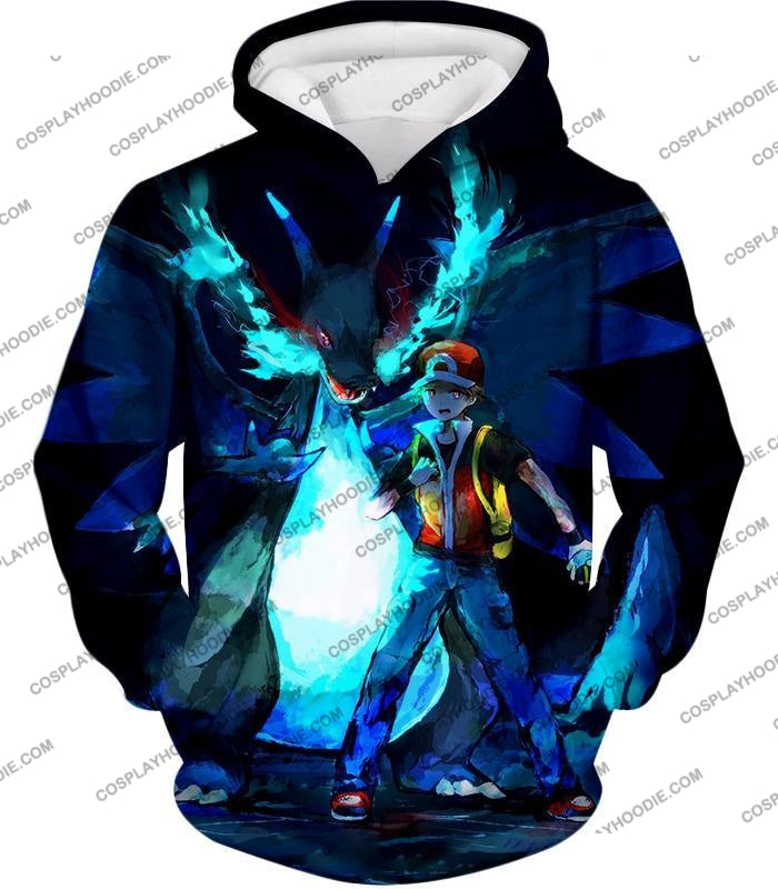 Pokemon Powerful Ash Charizard Mega Evolution Cool Action T-Shirt Pkm048 Hoodie / Us Xxs (Asian Xs)