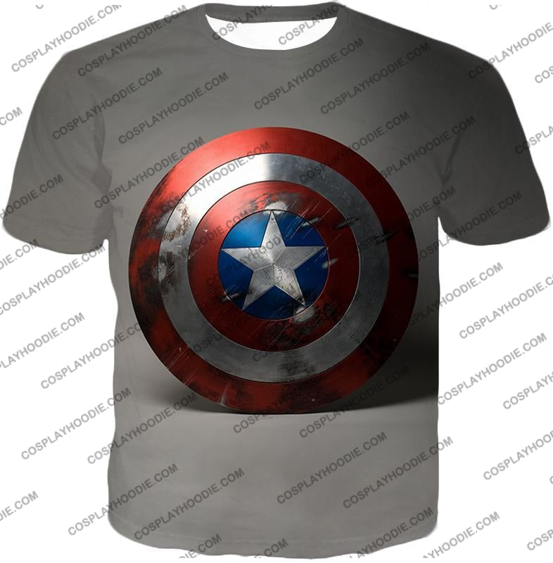 Battles Scarred Captain America Shield Cool Grey T-Shirt Ca048 / Us Xxs (Asian Xs)