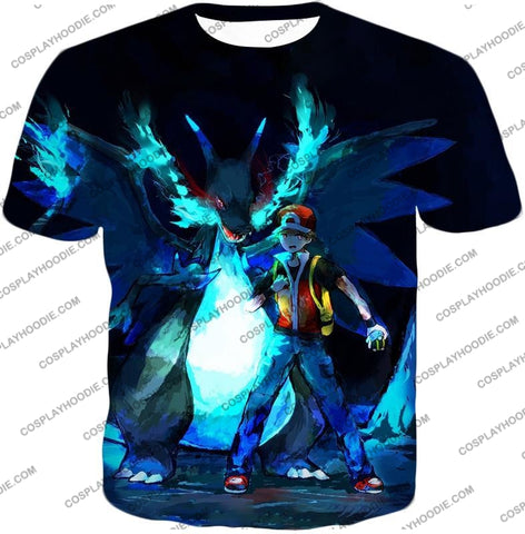 Image of Pokemon Powerful Ash Charizard Mega Evolution Cool Action T-Shirt Pkm048 / Us Xxs (Asian Xs)