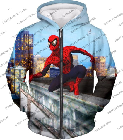 Image of Amazing Spiderman Gameplay Action T-Shirt Sp048 Zip Up Hoodie / Us Xxs (Asian Xs)