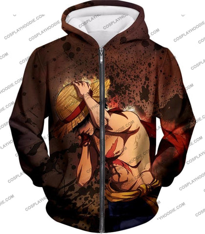 Image of One Piece Best Pirate Captain Monkey D Luffy Cool Anime T-Shirt Op048 Zip Up Hoodie / Us Xxs (Asian