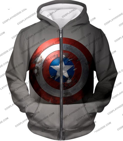 Image of Battles Scarred Captain America Shield Cool Grey T-Shirt Ca048 Zip Up Hoodie / Us Xxs (Asian Xs)