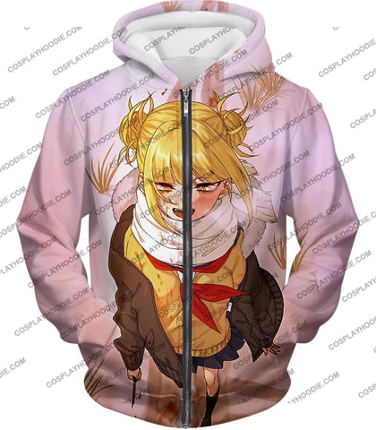Image of My Hero Academia Crazy Cute Dangerous Villain Himiko Toga Cool Anime White T-Shirt Mha098 Zip Up