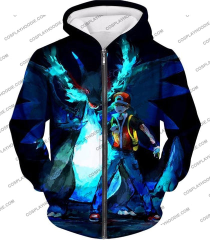 Image of Pokemon Powerful Ash Charizard Mega Evolution Cool Action T-Shirt Pkm048 Zip Up Hoodie / Us Xxs