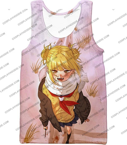 Image of My Hero Academia Crazy Cute Dangerous Villain Himiko Toga Cool Anime White T-Shirt Mha098 Tank Top /