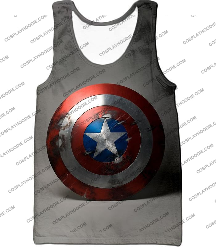 Battles Scarred Captain America Shield Cool Grey T-Shirt Ca048 Tank Top / Us Xxs (Asian Xs)