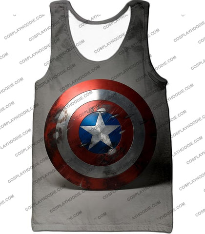 Image of Battles Scarred Captain America Shield Cool Grey T-Shirt Ca048 Tank Top / Us Xxs (Asian Xs)