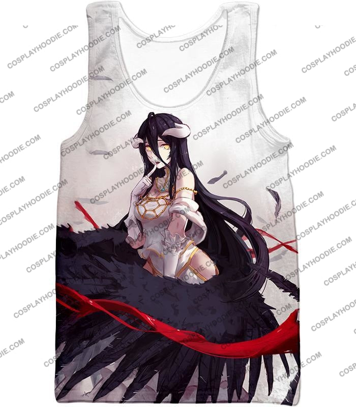 Overlord Black Winged Beauty Guardian Albedo Cool Anime White T-Shirt Ol048 Tank Top / Us Xxs (Asian