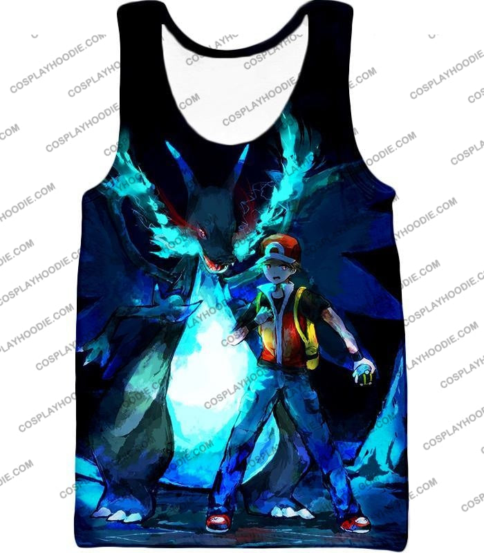 Pokemon Powerful Ash Charizard Mega Evolution Cool Action T-Shirt Pkm048 Tank Top / Us Xxs (Asian