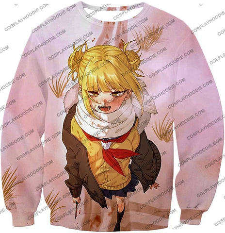 Image of My Hero Academia Crazy Cute Dangerous Villain Himiko Toga Cool Anime White T-Shirt Mha098 Sweatshirt