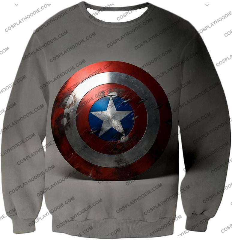 Battles Scarred Captain America Shield Cool Grey T-Shirt Ca048 Sweatshirt / Us Xxs (Asian Xs)