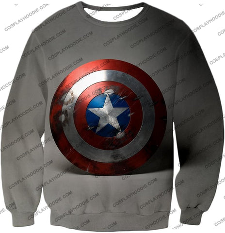 Image of Battles Scarred Captain America Shield Cool Grey T-Shirt Ca048 Sweatshirt / Us Xxs (Asian Xs)