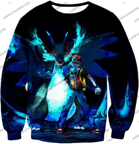 Image of Pokemon Powerful Ash Charizard Mega Evolution Cool Action T-Shirt Pkm048 Sweatshirt / Us Xxs (Asian