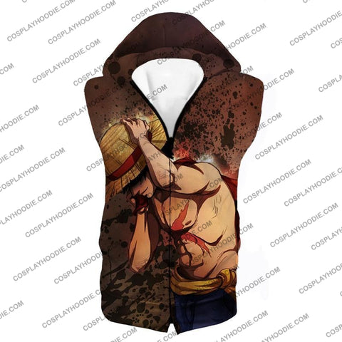 Image of One Piece Best Pirate Captain Monkey D Luffy Cool Anime T-Shirt Op048 Hooded Tank Top / Us Xxs