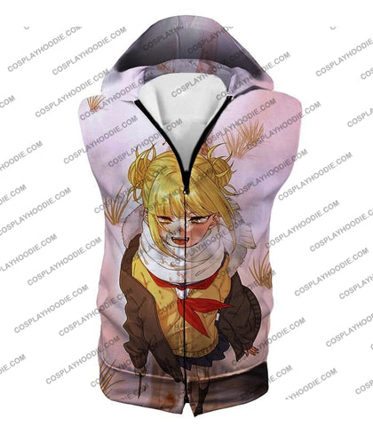 Image of My Hero Academia Crazy Cute Dangerous Villain Himiko Toga Cool Anime White T-Shirt Mha098 Hooded