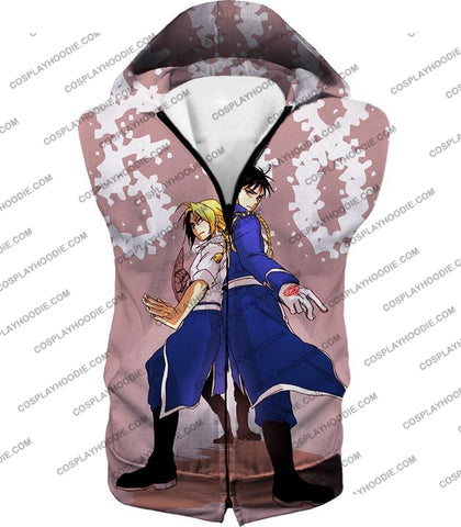 Image of Fullmetal Alchemist Fighting Together Alchemy Heroes Edward X Roy Amazing Anime T-Shirt Fa048 Hooded