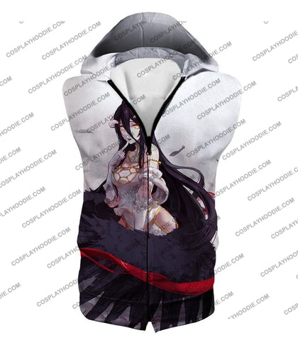 Image of Overlord Black Winged Beauty Guardian Albedo Cool Anime White T-Shirt Ol048 Hooded Tank Top / Us Xxs