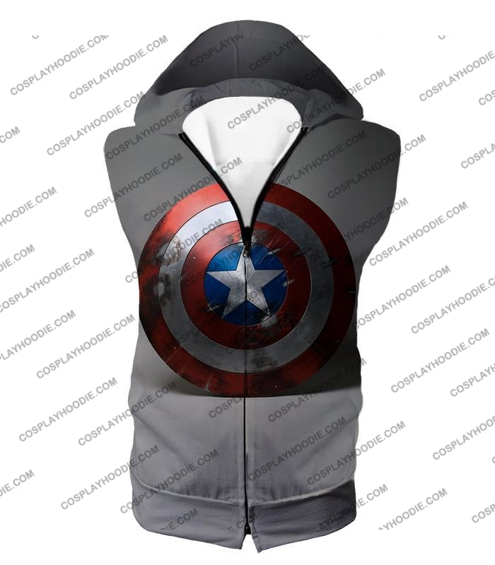 Battles Scarred Captain America Shield Cool Grey T-Shirt Ca048 Hooded Tank Top / Us Xxs (Asian Xs)