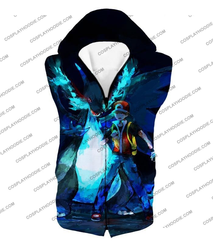 Pokemon Powerful Ash Charizard Mega Evolution Cool Action T-Shirt Pkm048 Hooded Tank Top / Us Xxs