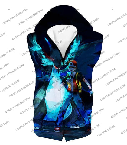 Image of Pokemon Powerful Ash Charizard Mega Evolution Cool Action T-Shirt Pkm048 Hooded Tank Top / Us Xxs