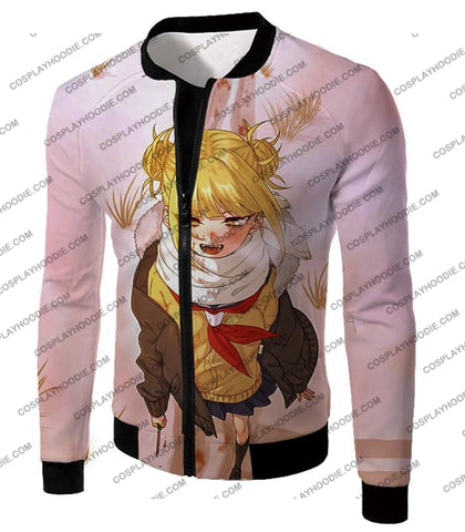 Image of My Hero Academia Crazy Cute Dangerous Villain Himiko Toga Cool Anime White T-Shirt Mha098 Jacket /