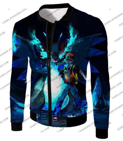 Image of Pokemon Powerful Ash Charizard Mega Evolution Cool Action T-Shirt Pkm048 Jacket / Us Xxs (Asian Xs)