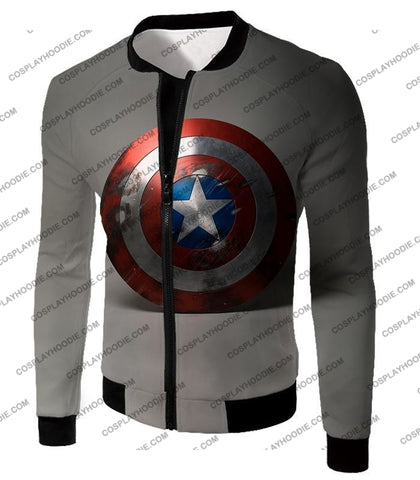 Image of Battles Scarred Captain America Shield Cool Grey T-Shirt Ca048 Jacket / Us Xxs (Asian Xs)