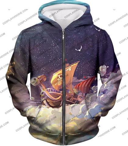 Image of One Piece Super Cool Straw Hat Ship Going Merry Amazing T-Shirt Op049 Zip Up Hoodie / Us Xxs (Asian