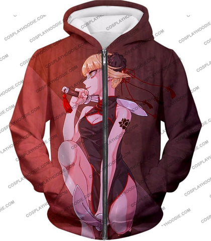 Image of My Hero Academia Transforming Villain Himiko Toga Cool Anime T-Shirt Mha099 Zip Up Hoodie / Us Xxs